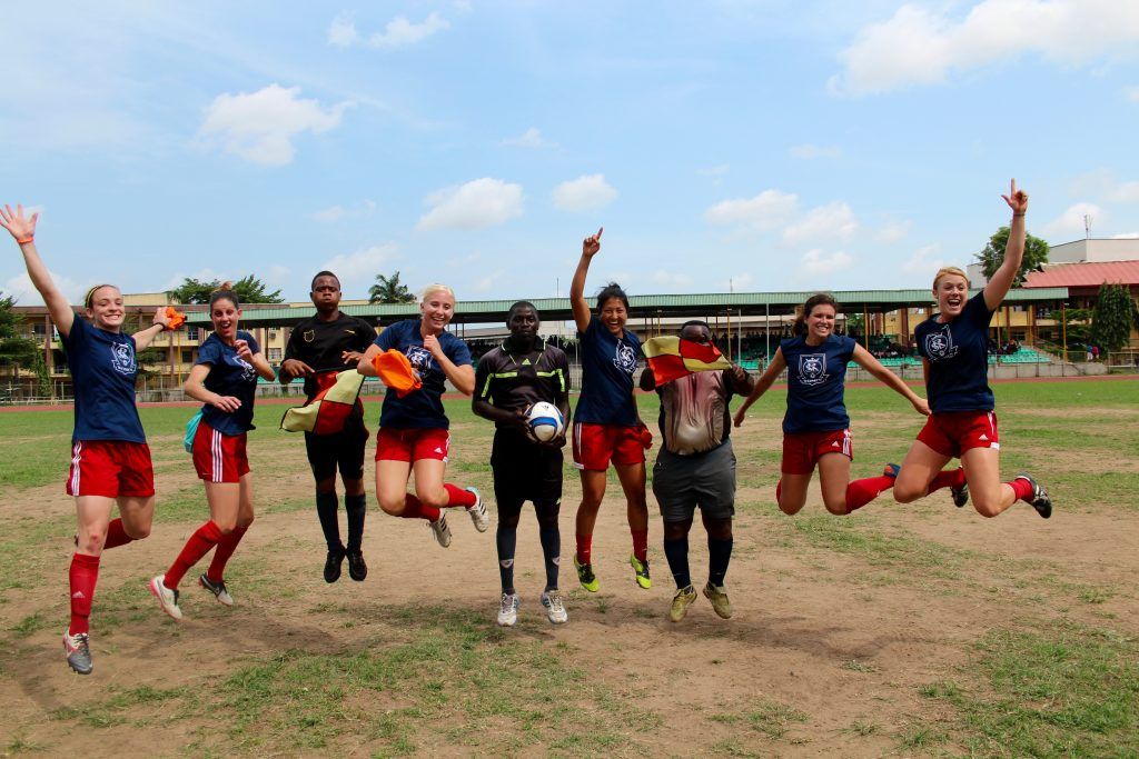 The RSL-Women's team had a party in Lagos, Nigeria serving and playing. This is their post match celebration jump. ;-)