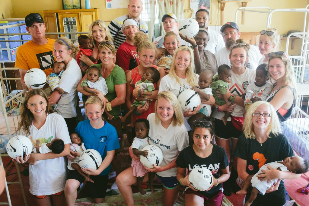 Members of the Logan Lynx visit an orphanage in Osun State, Nigeria after completing the first team Save-A-Thon For african trip just weeks before the Chibok Girls were kidnapped by Boko Haram.